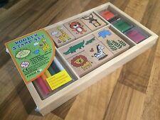 Holzstempel Set für Kinder Holz Stempel Motivstempel Tierstempel Buntstifte Bunt
