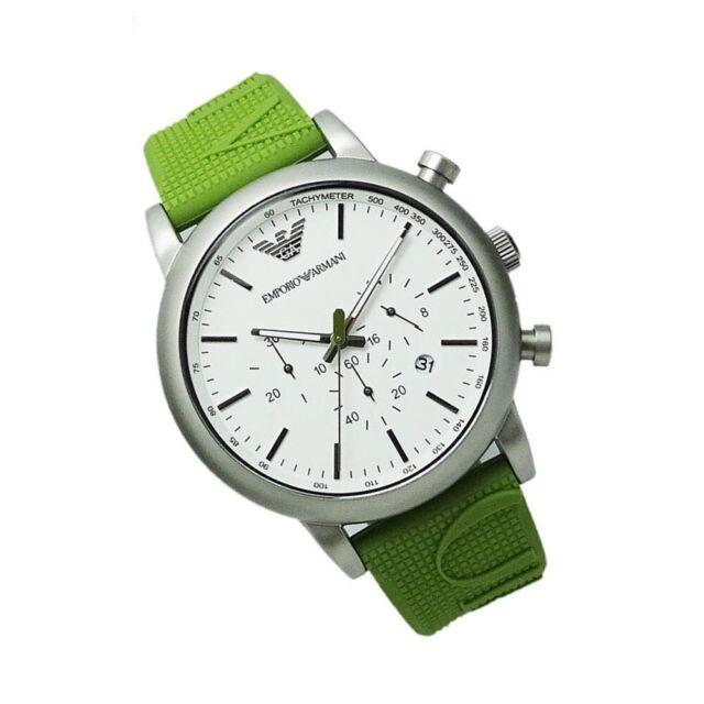 5beca374 AR6115 Emporio Armani SPORTIVO Men Watch Green Rubber Chronograph 43mm Black