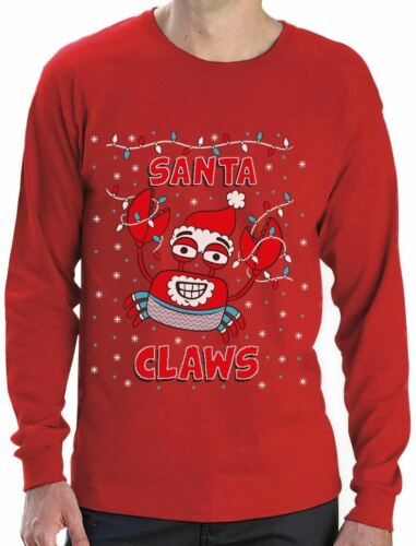 Santa Claws Ugly Christmas Sweater Crab Funny Xmas Lobster Long Sleeve T-Shirt