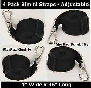 "BOAT BIMINI BIKINI TOP STRAPS 4 PACK 96/"" ADJUSTABLE BLACK HOLD BIMINI SECURE"