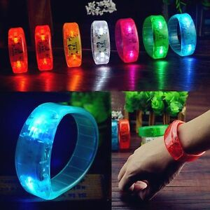New-Sound-Controlled-Voice-LED-Light-Up-Bracelet-Activated-Glow-Flash-Bangle-Hot