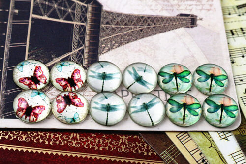 12pcs Handmade Glass Cabochons Set12mmButterfly /& Dragonfly Series