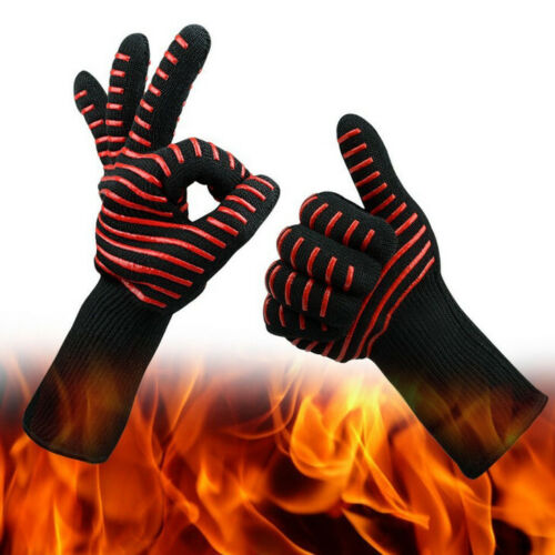 Silikon BBQ Backhandschuhe Küche Ofen Kamin Handschuhe 800° Hitzebeständig