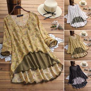 Vintage-Femme-Ample-Faux-deux-pieces-Floral-Manche-Longue-Haut-Shirt-Tops-Plus