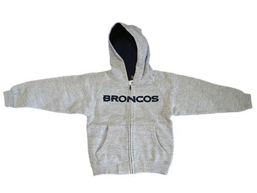 New Boy/'s NFL Denver Broncos Hoody Sweatshirt Toddler 2T 4T Gray Zipper