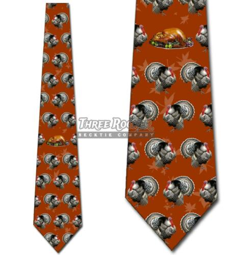 Turkeys and Thanksgiving Dinner Funny Orange Mens Tie New