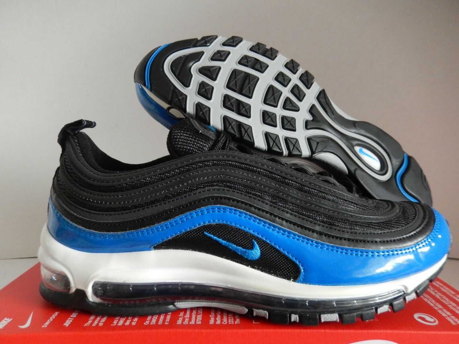 NIKE AIR MAX 97 BLACK-blueE NEBULA-WOLF GREY SZ 9.5 [921826-011]
