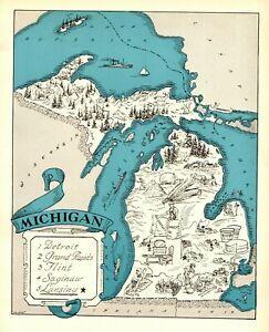 1930s Antique Michigan State Map Rare