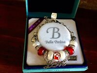 Bella Perlina Charm Bead Bracelet - Dark Reds With Love Charm-