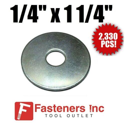 "1//4/"" X 1 1//4/"" 2330//PCS Bulk Box 50//LBS Zinc Plated Fender Washer 50# Bulk Box"