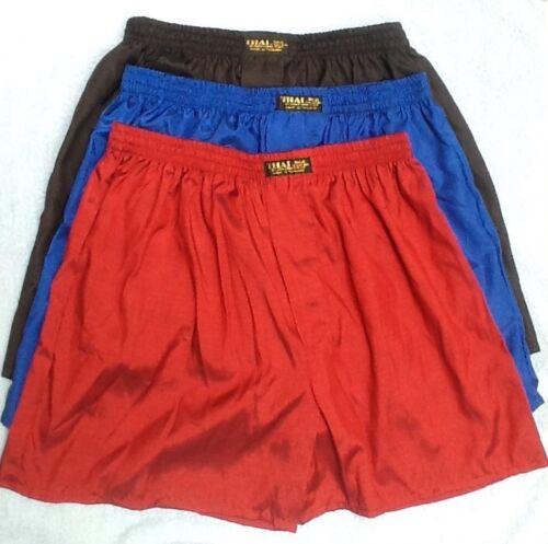 3 THAI SILK BOXER Sleepwear Pants Boxer XXL 2XL intimo NERO BLU