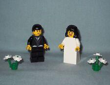 NEW LEGO WEDDING BLACK HAIR BRIDE AND GROOM MINIFIGURES FOR WEDDING CAKES