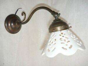 Appliques lampada da parete in ottone con ceramica ebay
