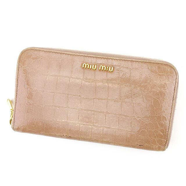 miumiu Wallet Purse zipper wallet Pink Woman Authentic Used T757