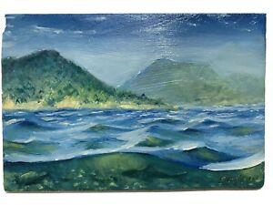 Original-Oil-Painting-shark-turtle-Ocean-Seascape-art-realism-originals-Signed