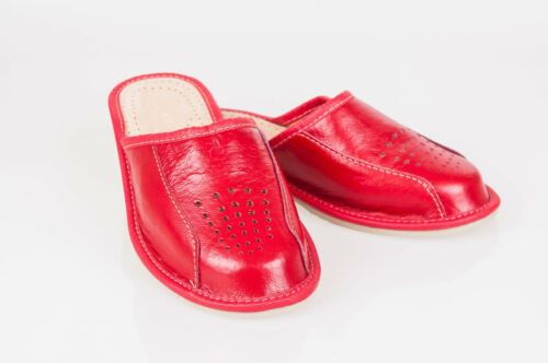 Women`s//Ladies Leather Slippers 100/% Natural Leather size:UK 3,4,5,6,7,8 RED