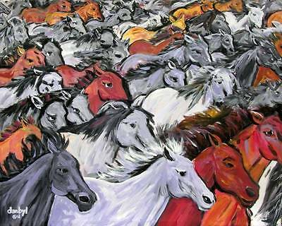 WILD Mustangs HORSES Original Art PAINTING DAN BYL Signed Investment Canvas XXL