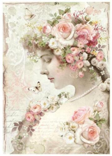 1 REISPAPIER Portrait Blumen DIN A4 bedruckte Motiv-Strohseide 28 g//m² STAMPERIA