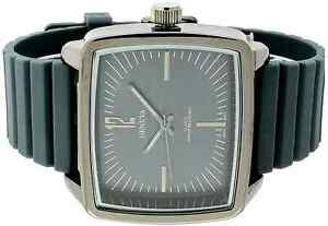 All-Gray-Geneva-Men-039-s-Watch-Square-Big-Face-Rectangle-Dial-Rubber-Band