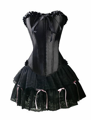 Sexy Black Satin Corset Size S GOTHIC Lolita Bustier Lace Mini Skirt  WC g8025_K