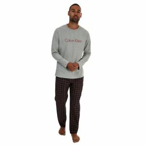Men's Calvin Klein Long Sleeve Top Straight Leg Pant Pyjama Set in Grey
