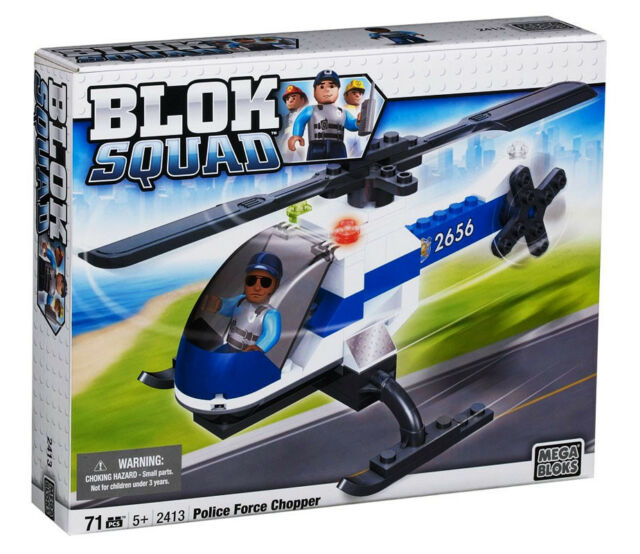 Police Force Chopper Helicopter Building Bricks Squad Mega Bloks 71 Pc 2413