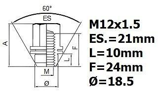 Mitsubishi L200 wheel locking nuts M12x1,5 anti-theft for alloys