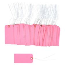 100 Pcs Of 4 34 X 2 38 Size 5 Pink Cardstock Hang Tag Tags With Wire 13 Pt