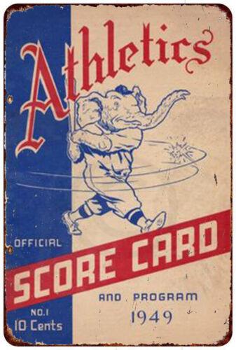 Philadelphia Athletics 1949 scorecard Vintage reproduction metal sign 8 x 12