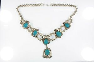 "Sterling Silver Navajo Turquoise Necklace With Leaf Details 18"" 79.8g"