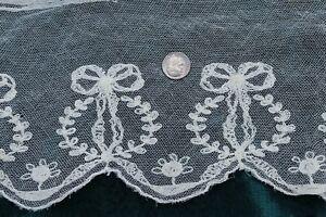 Antique-c1910-1920-French-Cotton-Machine-Lace-Bow-amp-Floral-Net-Yardage-78-034-X6-034