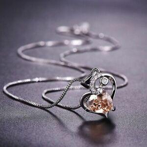 Damen-Halskette-Silber-925-Herz-Aquamarin-Rubin-Edelstein-Kette-Silber-Anhaenger