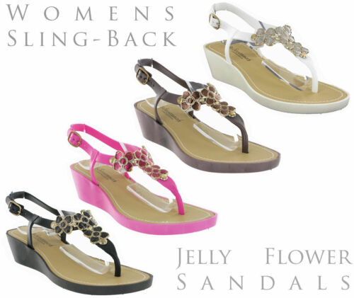 Savannah Small Wedge Jelly Buckle Toepost Casual Flower Trim Womens Sandals