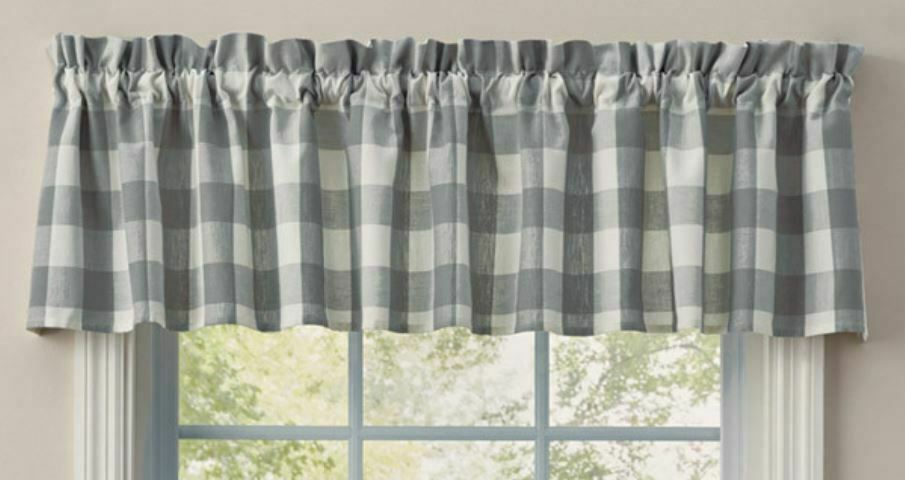 1 Wicklow Dove Gray Buffalo Check Country Farmhouse Window Valance 72 X 14 For Sale Online