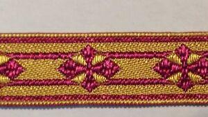 Vintage-Frances-Cruz-Diseno-Purpura-en-Oro-de-Recorte-Vestment-1-3cm-Ancho-4-6m