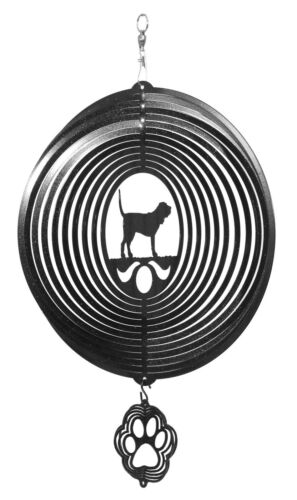 SWEN Products BLOOD HOUND Dog Circle BLACK Swirly COMBO Metal Wind Spinner