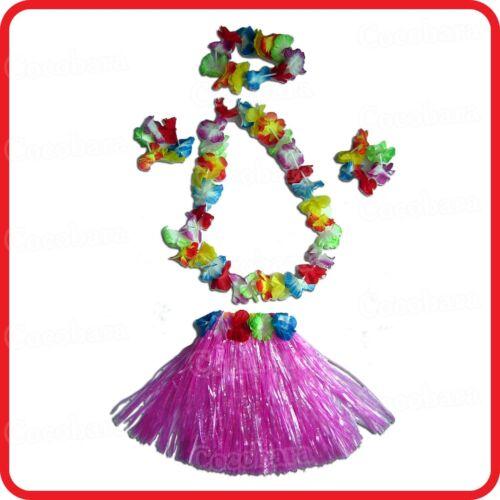 GREEN KIDS CHILDRENS GIRLS TROPICAL HAWAIIAN DANCE HULA SKIRT LEI SET 5PC PINK