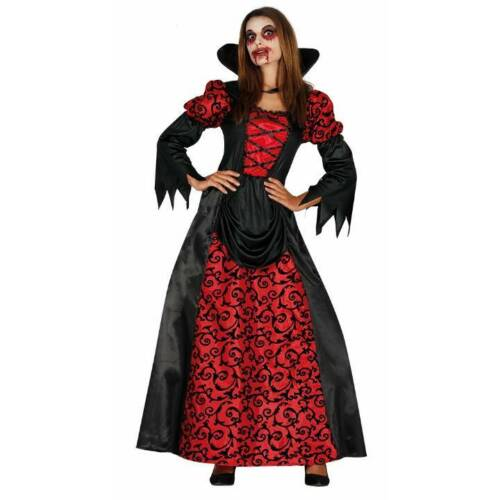 Red /& Black Elegant Vampiress Ladies Halloween Fancy Dress Costume