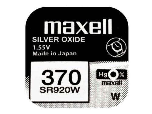 Maxell 370 Pila Batteria Orologio Mercury Free Silver Oxide SR920W Japan 1.55V