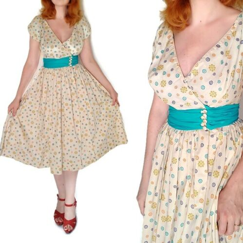 True Vtg 60's Swing Fit and Flare Dress Pinup Cand
