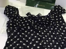 NEW Moschino 100% Silk GEORGETTE top Blouse Bow Black white dots UK14 rrp£240