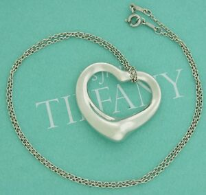 Tiffany co large huge open heart necklace pendant 20 inch chain ebay image is loading tiffany amp co large huge open heart necklace aloadofball Choice Image