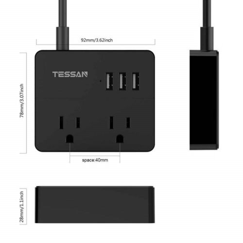 2Pack TESSAN Portable Power Strip 2 Outlet /& 3 USB Charging Ports and 5 Ft Cord