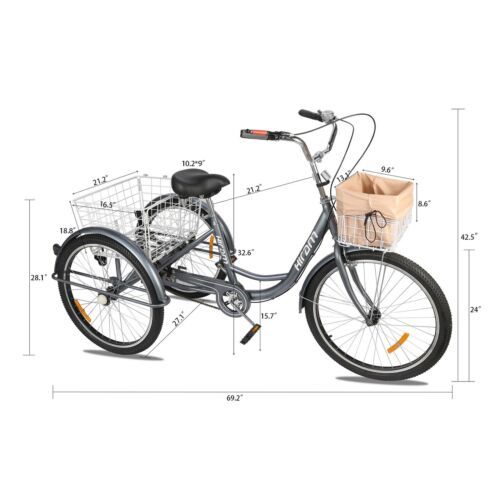 """26/""""//24/"""" Adult Tricycle Trike w Removable Basket for Shopping /& Outing"""
