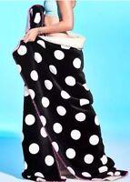 Victorias Secret Pink Polka Dots Sherpa Xl Lim Ed Plush Throw Blanket