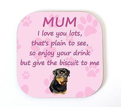 "Rottweiler /""je t/'aime maman/"" coaster drinks tapis cadeau fantaisie fun du chien"
