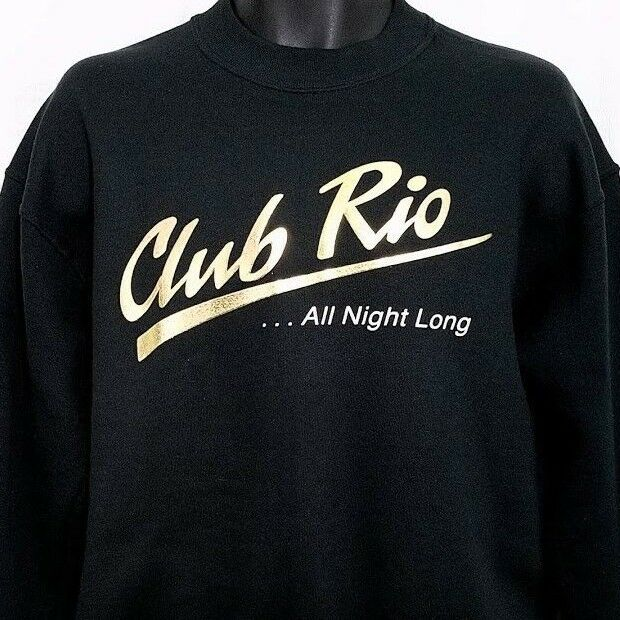 Club Rio Mens Sweatshirt Vtg 90s Las Vegas Nightclub Made In USA Gold Medium