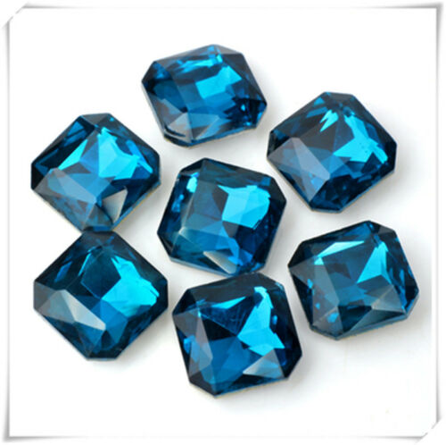 50pcs 12mm square cabochon rhinestone point back crystal glass DIY supplies