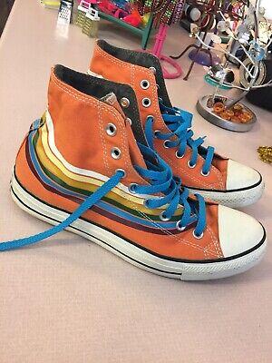 Converse Chuck Taylor All Star Orange Hi Top Shoes Mens 9 ladies 11 | eBay
