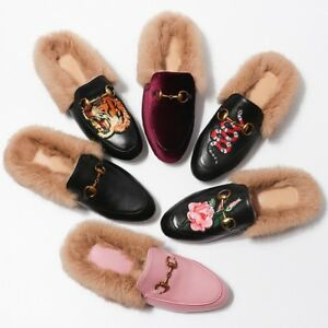 44b030cf48e67 Image is loading Womens-Embroidery-Loafer-Slipper-Horsebit-Leather-Rabbit- Fur-